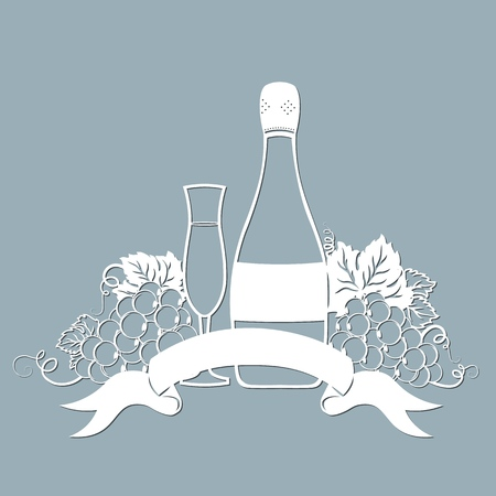 Template for laser cutting, plotter, and silkscreen printing. Vine. Grape. A bottle of champagne and a glass