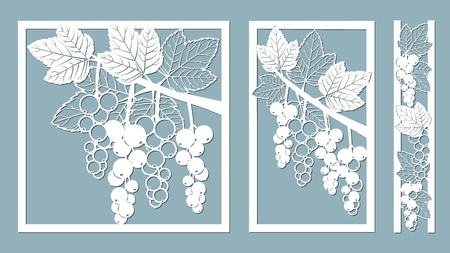 Template for laser cutting, plotter, and silkscreen printing. urrant leaves Banque d'images - 127224261