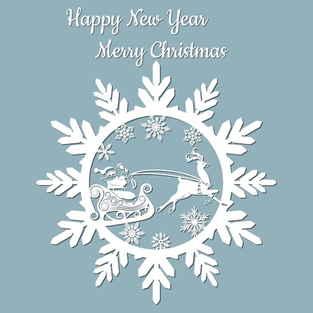 new year, Christmas, deer, Santa Claus, snowflake. For laser cutting plotter and silkscreen printing Banque d'images - 127143581