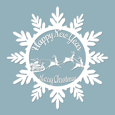 new year, Christmas, deer, Santa Claus, snowflake. For laser cutting plotter and silkscreen printing Banque d'images - 127143582