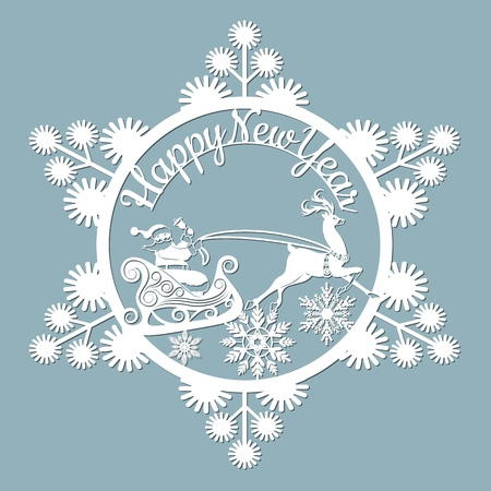 new year, Christmas, deer, Santa Claus, snowflake. For laser cutting plotter and silkscreen printing Banque d'images - 127143583