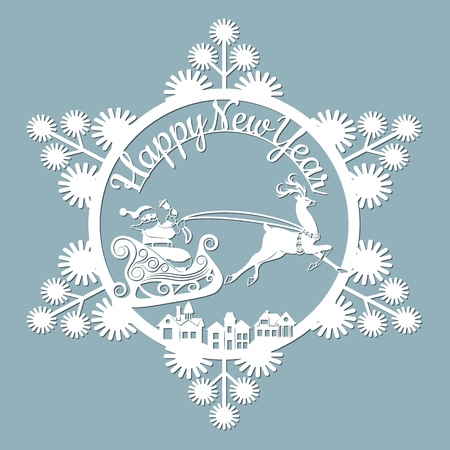 new year, Christmas, deer, Santa Claus, snowflake. For laser cutting plotter and silkscreen printing Banque d'images - 127143584