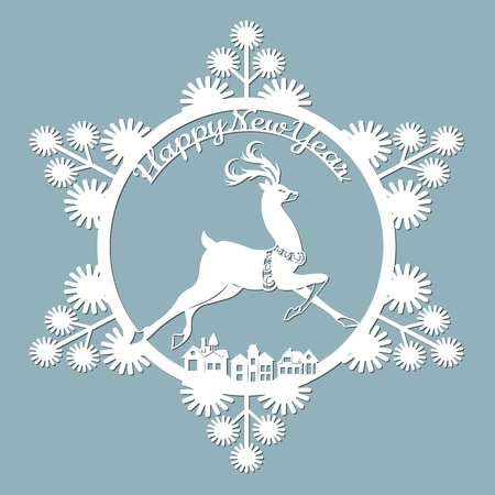 new year, Christmas, deer, snowflake. Template For laser cutting, plotter and silkscreen printing Banque d'images - 127143585