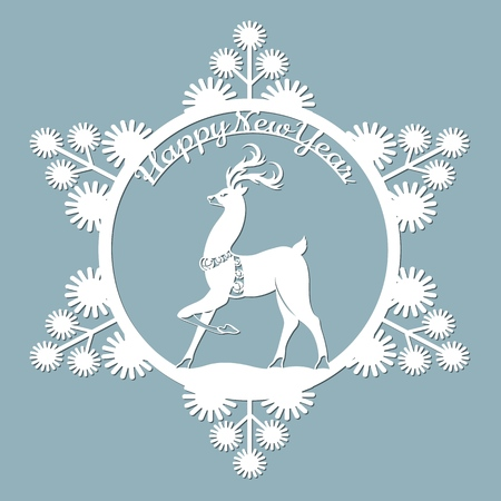 new year, Christmas, deer, snowflake. Template For laser cutting, plotter and silkscreen printing Banque d'images - 127143586