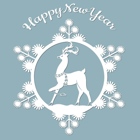 new year, Christmas, deer, snowflake. Template For laser cutting, plotter and silkscreen printing Banque d'images - 127143587