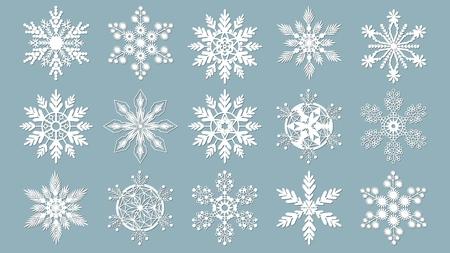 Set of snowflakes. Laser cut pattern for christmas paper cards, design elements, scrapbooking. Vector illustration Banque d'images - 127143589