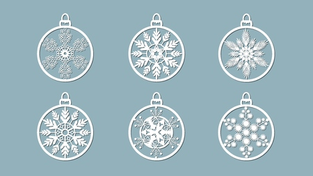 Christmas balls set with a snowflake cut out of paper. Templates for laser cutting, plotter cutting or printing. Festive background Banque d'images - 127122915