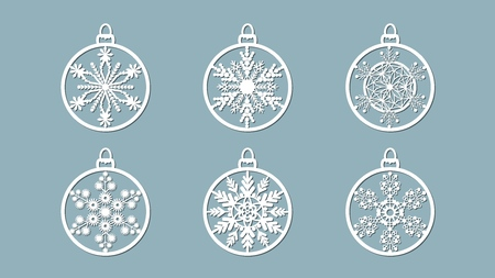 Christmas balls set with a snowflake cut out of paper. Templates for laser cutting, plotter cutting or printing. Festive background Banque d'images - 127122916