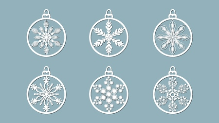 Christmas balls set with a snowflake cut out of paper. Templates for laser cutting, plotter cutting or printing. Festive background Banque d'images - 127122917