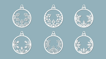 Christmas balls set with a snowflake cut out of paper. Templates for laser cutting, plotter cutting or printing. Festive background Banque d'images - 127122918