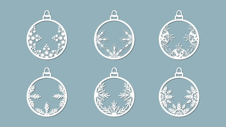 Christmas balls set with a snowflake cut out of paper. Templates for laser cutting, plotter cutting or printing. Festive background Banque d'images - 127122919