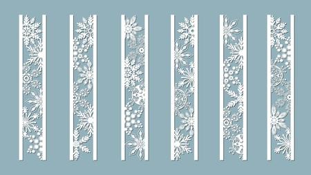Pannelli ornamentali con motivo a fiocco di neve. Modelli di bordi di pizzo decorativi tagliati al laser. Set di modelli di segnalibri. Immagine adatta per taglio laser, taglio plotter o stampa. serigrafia
