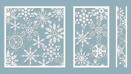 Ornamental panels with snowflake pattern. Laser cut decorative lace borders patterns. Set of bookmarks templates. Image suitable for laser cutting, plotter cutting or printing. serigraphy Banque d'images - 127122920