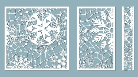 Ornamental panels with snowflake pattern. Laser cut decorative lace borders patterns. Set of bookmarks templates. Image suitable for laser cutting, plotter cutting or printing. serigraphy Banque d'images - 127057663