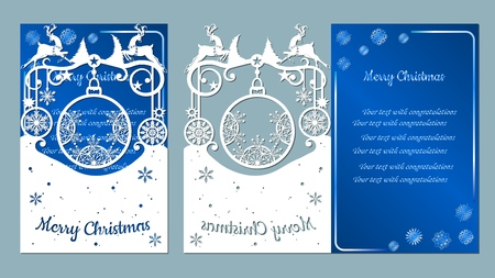 spruce, wood, snowflakes, reindeer. Christmas balls set with a snowflake. Vector. Plotter cutting. Cliche. The image with the inscription - merry Christmas. For laser cutting, plotter and silkscreen printing. Greeting card, invitation Banque d'images - 127057664