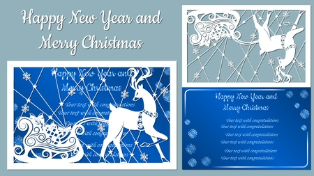 spruce, wood, snowflakes, reindeer. Christmas balls set with a snowflake. Vector. Plotter cutting. Cliche. The image with the inscription - merry Christmas. For laser cutting, plotter and silkscreen printing. Greeting card, invitation Banque d'images - 127057665