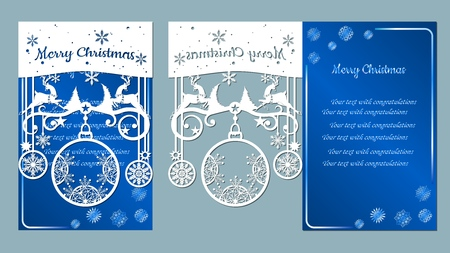 spruce, wood, snowflakes, reindeer. Christmas balls set with a snowflake. Vector. Plotter cutting. Cliche. The image with the inscription - merry Christmas. For laser cutting, plotter and silkscreen printing. Greeting card, invitation Banque d'images - 127057666