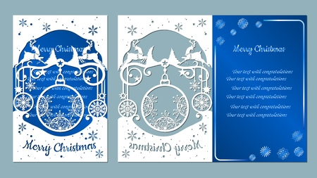 spruce, wood, snowflakes, reindeer. Christmas balls set with a snowflake. Vector. Plotter cutting. Cliche. The image with the inscription - merry Christmas. For laser cutting, plotter and silkscreen printing. Greeting card, invitation Banque d'images - 127057667