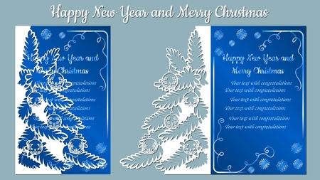 Pattern, branch with snowflakes. Christmas invitation with a snowflake and a Christmas toy. Vector. Cliche. Merry Christmas and New Year. For laser cutting, plotter and silkscreen printing. Greeting card