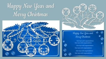 Pattern, branch with snowflakes. Christmas invitation with a snowflake and a Christmas toy. Vector. Cliche. Merry Christmas and New Year. For laser cutting, plotter and silkscreen printing. Greeting card Banque d'images - 126948780