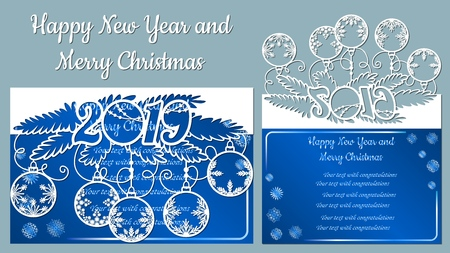 Pattern, branch with snowflakes. Christmas invitation with a snowflake and a Christmas toy. Vector. Cliche. Merry Christmas and New Year, 2019. For laser cutting, plotter and silkscreen printing Banque d'images - 126932744