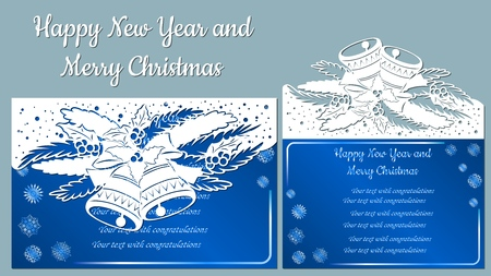 Pattern, branch with snowflakes and bell. Christmas invitation with a snowflake and a Christmas toy. Vector. Cliche. Merry Christmas and New Year, 2019. For laser cutting, plotter and silkscreen printing Banque d'images - 126891218