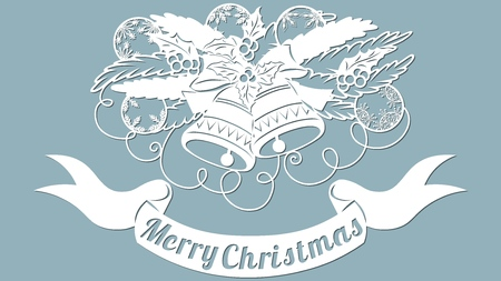 Pattern, branch with toys and bells. Christmas invitation with a Christmas toy. Vector. Cliche. Merry Christmas. For laser cutting, plotter and silkscreen printing Banque d'images - 126853500