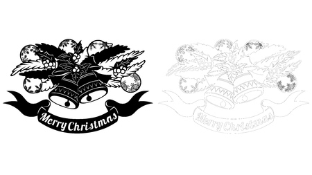 The contour and the object. Pattern, branch with toys and bells. Christmas invitation with a Christmas toy. Vector. Cliche. Merry Christmas. For laser cutting, plotter and silkscreen printing Banque d'images - 126424168