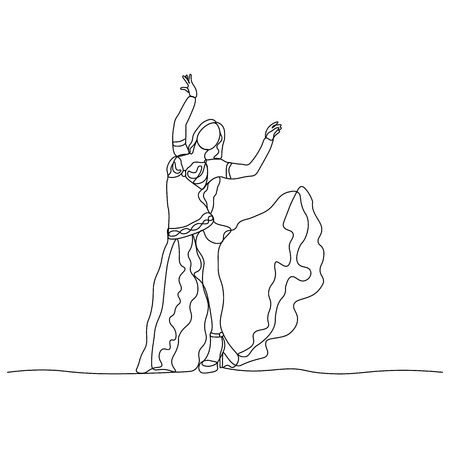 Belly dance. Turkish tane. Dancing girl depicted by a continuous line. Vector isolated illustration Banque d'images - 126424169