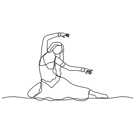 Belly dance. Turkish tane. Dancing girl depicted by a continuous line. Vector isolated illustration