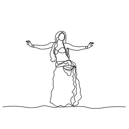 Belly dance. Turkish tane. Dancing girl depicted by a continuous line. Vector isolated illustration Banque d'images - 126424172