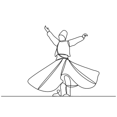 whirling dervish vector drawing. Vector illustration drawn with one line