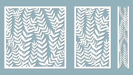 Set template for cutting. Fern Leaves pattern. Laser cut. Vector illustration. Pattern for the laser cut, serigraphy, plotter and screen printing Çizim