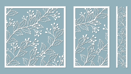 Set template for laser cutting and Plotter. Bush with berries for decoration. Vector illustration. Sticker set. Pattern for the laser cut, serigraphy, plotter and screen printing