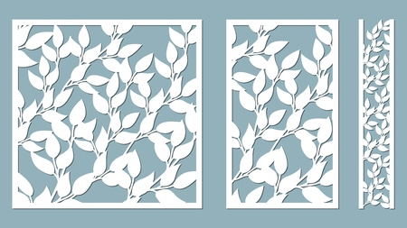 Set template for cutting. Leaves pattern. Laser cut. Vector illustration. Pattern for the laser cut, serigraphy, plotter and screen printing