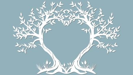 Postal de ilustración vectorial. Invitación y tarjeta de felicitación con los árboles en forma de corazón. Patrón para el corte láser, serigrafía, plotter y serigrafía