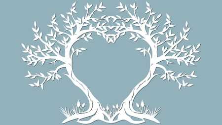 Vector illustration Postcard. Invitation and greeting card with the trees in the form of a heart. Pattern for the laser cut, serigraphy, plotter and screen printing Illustration