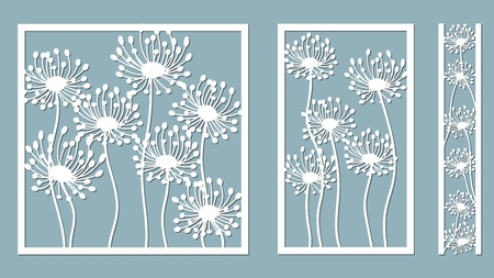 Set template for laser cutting and Plotter. Dandelion for decoration. Vector illustration. Sticker set. Pattern for the laser cut, serigraphy, plotter and screen printing Çizim
