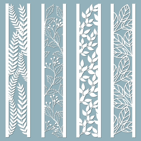 Die and laser cut ornamental panels with floral pattern. leaves, berries, fern. Laser cut decorative lace borders patterns. Set of bookmarks templates. Sticker set. Pattern for the laser cut, serigraphy, plotter and screen printing