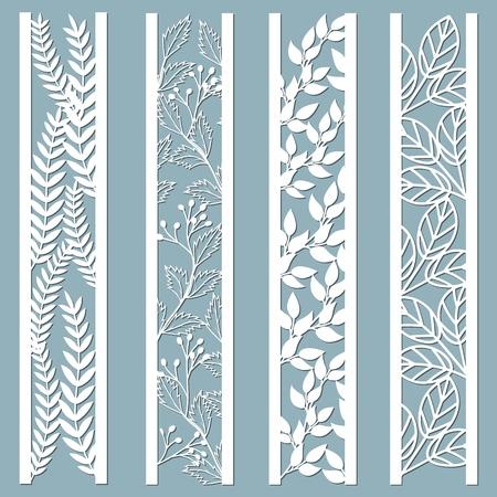 Panneaux décoratifs découpés au laser et découpés au laser avec motif floral. feuilles, baies, fougère. Motifs de bordures en dentelle décorative découpés au laser. Ensemble de modèles de signets. Ensemble d'autocollants. Patron pour la découpe laser, la sérigraphie, le traceur et la sérigraphie