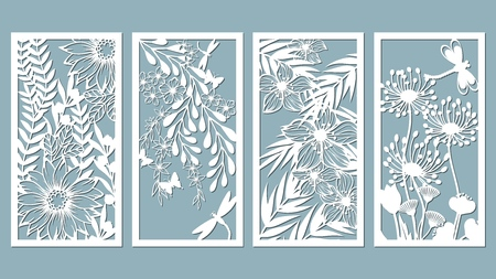 Set template for laser cutting and Plotter. Flowers, leaves for decoration. Vector illustration. Sticker set. Pattern for the laser cut, serigraphy, plotter and screen printing