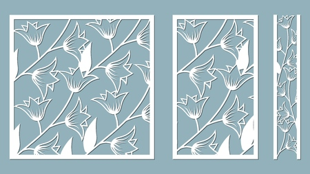 Set template for laser cutting and Plotter. Flowers, leaves for decoration. Vector illustration. Sticker set flowers bell. plotter and screen printing. serigraphy