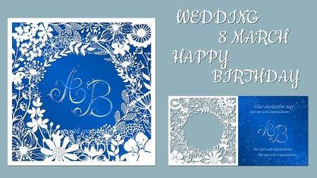 Tarjeta de felicitación de vector para vacaciones. Con la imagen de flores silvestres y libélulas. Inscripciones-boda, 8 de marzo, feliz cumpleaños. Plantilla para corte por láser, corte con plotter, serigrafía