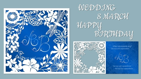 Vector greeting card for holidays. With the image of wildflowers and dragonflies. Inscriptions-wedding, March 8, happy birthday. Template for laser cutting, plotter cutting, silk screen printing Vetores