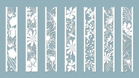 panels with floral pattern. Flowers and leaves. Laser cut. Set of bookmarks templates. Image for laser cutting, plotter cutting or printing. Tulip, Daisy. plotter and screen printing. serigraphy. Çizim