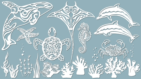 killer whale, scate, Dolphin, starfish, seahorse, turtle, crab, algae, corals, Kelp, (laminaria, Macrocystis, Brown alga, rockweed, Fucus, Posidonia). Vector illustration. Set of paper marine animals stickers. Laser cut. Set template for laser cutting and Plotter. Vector illustration. Sticker set. Pattern for the laser cut serigraphy plotter and screen printing