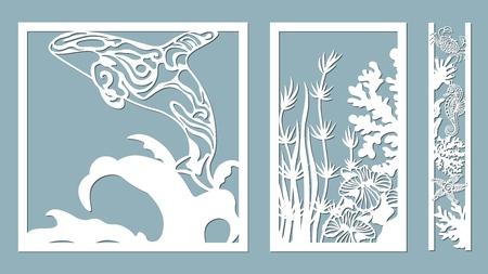 killer whale, starfish, seahorse, crab, algae, corals, Kelp, (laminaria, Macrocystis, Brown alga, rockweed, Fucus, Posidonia). Vector illustration. Set of paper marine animals stickers. Laser cut. Set template for laser cutting and Plotter. Vector illustration. Sticker set. Pattern for the laser cut, serigraphy plotter and screen printing Ilustração