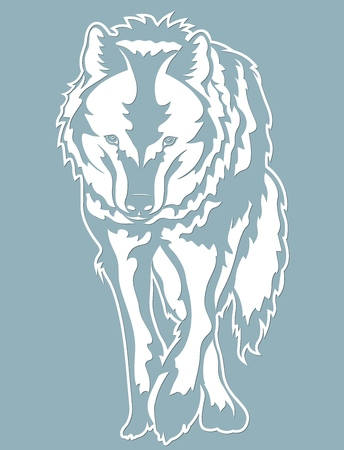 Wolf vector illustration. Paper wolf sticker. Laser cut. Template for laser cutting and Plotter. Vector illustration. Sticker. Pattern for the laser cut, serigraphy, plotter and screen printing