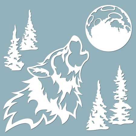 The wolf howls at the moon. Vector illustration. Paper wolf sticker. Laser cut. Template for laser cutting and Plotter. Vector illustration. Sticker. Pattern for the laser cut, serigraphy, plotter and screen printing