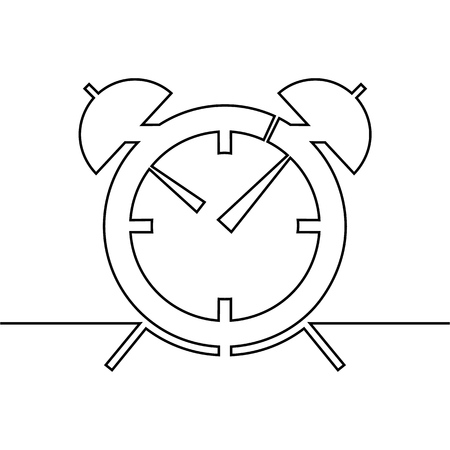 The alarm clock is drawn by one line on a white background. Single line drawing. Continuous line. Vector